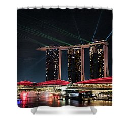 Light Show On Singapore Harbour Shower Curtain