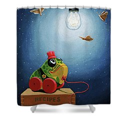 Shower Curtain featuring the painting Light Snacks Original Whimsical Still Life by Linda Apple