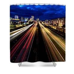 Shower Curtain featuring the photograph Light Streaks On 705 by Rob Green