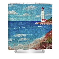 Shower Curtain featuring the painting Light The Way by Sonya Nancy Capling-Bacle
