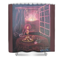 Flying Lamb Productions      Light The Yes Candle Shower Curtain