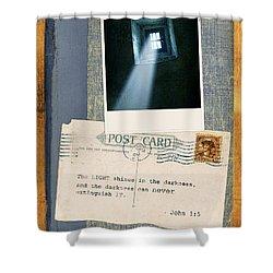 Light Through Window And Scripture Shower Curtain by Jill Battaglia