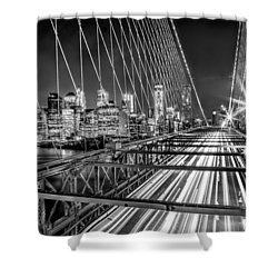 Light Trails Of Manhattan Shower Curtain by Az Jackson
