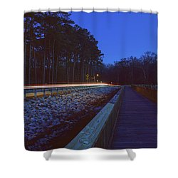 Light Trails On Elbow Road Shower Curtain