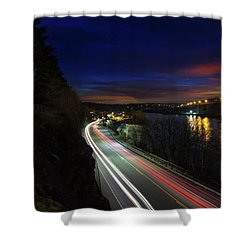 Light Trails On Highway 99 Shower Curtain by David Gn