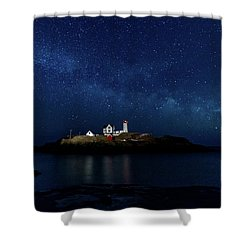 Light Up Nubble Lighthouse Shower Curtain