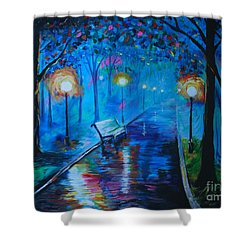 Shower Curtain featuring the painting Lighted Parkway by Leslie Allen