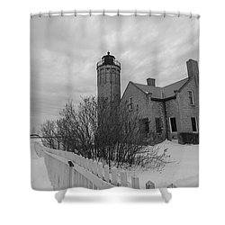 Shower Curtain featuring the photograph Lighthouse And Mackinac Bridge Winter Black And White  by John McGraw