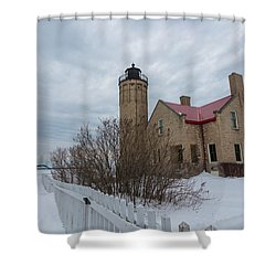Shower Curtain featuring the photograph Lighthouse And Mackinac Bridge Winter by John McGraw