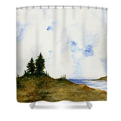 lighthouse and pine trees shower curtain by michael vigliotti
