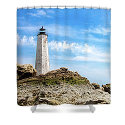 Lighthouse And Rocks Shower Curtain