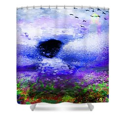 Lighthouse Angel Purple In Hotty Totty Style Shower Curtain by Catherine Lott