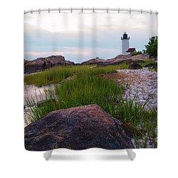 Lighthouse At Dusk Shower Curtain