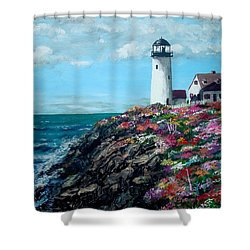 Shower Curtain featuring the painting Lighthouse At Flower Point by Jack Skinner