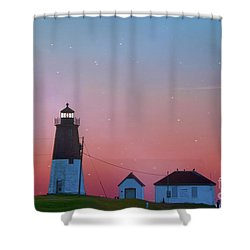 Shower Curtain featuring the photograph  Lighthouse At Sunrise by Juli Scalzi
