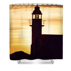 Lighthouse At Sunset Shower Curtain by Mary Mikawoz