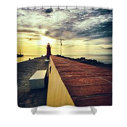 Shower Curtain featuring the photograph Lighthouse At Sunset by Silvia Ganora