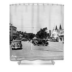 Lighthouse Avenue Downtown Pacific Grove, Calif. 1935  Shower Curtain