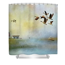 Lighthouse Bay Shower Curtain