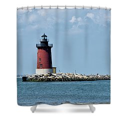 Delaware Breakwater East End Lighthouse - Lewes Delaware Shower Curtain by Brendan Reals