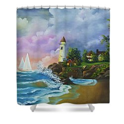 Lighthouse By The Village Shower Curtain