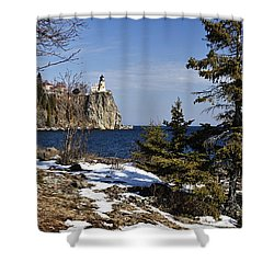 Shower Curtain featuring the photograph Lighthouse Framed by Larry Ricker