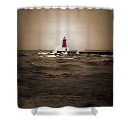 Lighthouse Glow Sepia Spot Color Shower Curtain