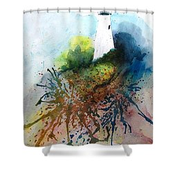 Lighthouse I - Original Sold Shower Curtain by Therese Alcorn