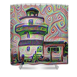 Lighthouse Ice Cream Shop - Wildwood Crest Shower Curtain by Bill Cannon