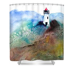 Lighthouse II - Original Sold Shower Curtain by Therese Alcorn
