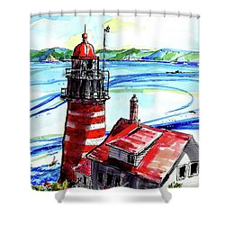 Lighthouse In Maine Shower Curtain by Terry Banderas
