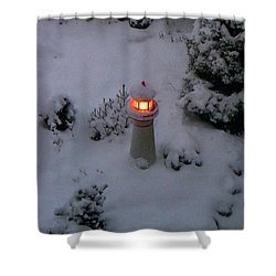 Shower Curtain featuring the photograph Lighthouse In The Snow by Kathryn Meyer