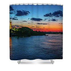 Lighthouse Light Beam Shower Curtain by Tom Claud