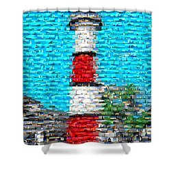 Lighthouse Made Of Lighthouses Mosaic Shower Curtain by Paul Van Scott