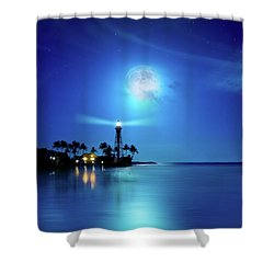 Lighthouse Moon Shower Curtain by Mark Andrew Thomas