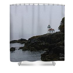 Lighthouse On Rainy Day Shower Curtain