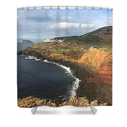 Shower Curtain featuring the photograph Lighthouse On The Coast Of Terceira by Kelly Hazel