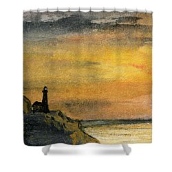 Lighthouse Oversees Coast Shower Curtain by R Kyllo