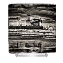 Lighthouse Reflections In Black And White Shower Curtain