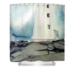 Lighthouse Rock Shower Curtain by Ed Heaton