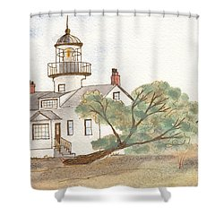 Lighthouse Sketch Shower Curtain by Ken Powers