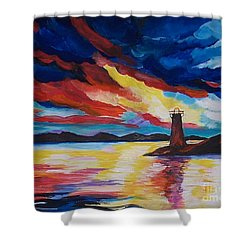 Shower Curtain featuring the painting Lighthouse Storm by Leslie Allen
