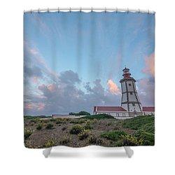 Lighthouse Sunrise At Cape Espichel Shower Curtain