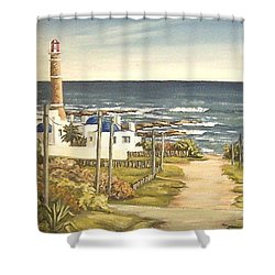 Shower Curtain featuring the painting Lighthouse Uruguay  by Natalia Tejera