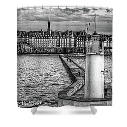 Shower Curtain featuring the photograph Lighthouse Walkway by Elf Evans