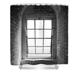 Lighthouse Window In Black And White Shower Curtain