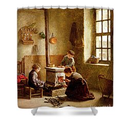 Lighting The Stove Shower Curtain by Pierre Edouard Frere