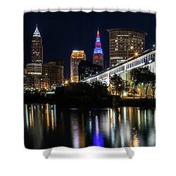 Shower Curtain featuring the photograph Lighting Up Cleveland by Dale Kincaid