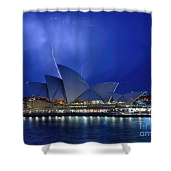 Lightning Above The Opera House Shower Curtain by Kaye Menner