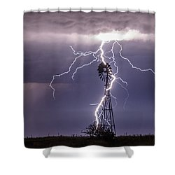 Lightning And Windmill Shower Curtain by Rob Graham